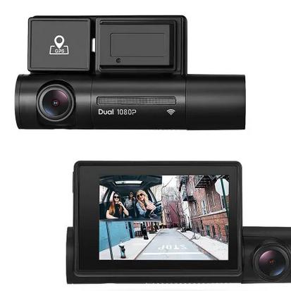 Autós, menetrögzítő kamera, dupla kamerával