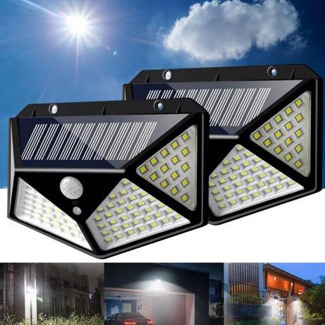 100 ledes napelemes világítás, mozgásérzékeléssel